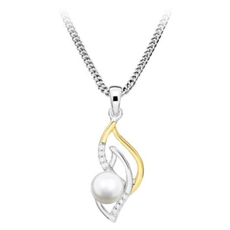MOISS Elegantní bicolor přívěsek s perlou PP000115