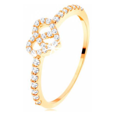 Prsten ze žlutého 14K zlata - zirkonová ramena, blýskavý čirý obrys srdce