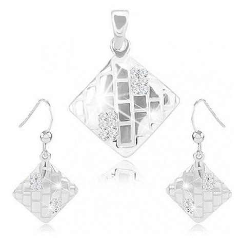 Set náušnic a přívěsku, stříbro 925, kosočtverec se zářezy a zirkony Šperky eshop