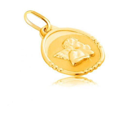 Zlatý přívěsek 585 - oválná známka s andělem, lesklo-matné provedení Šperky eshop