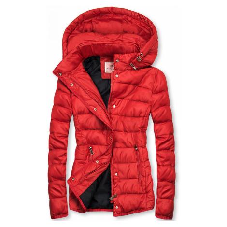 Červená prošívaná bunda na přechodné období Butikovo