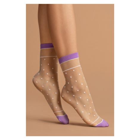 Smetanové vzorované ponožky Liz 15DEN Fiore