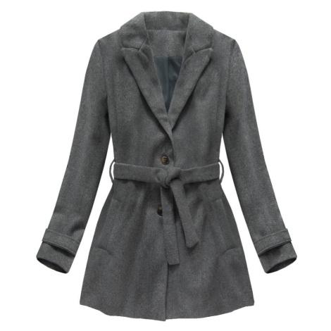 Tmavě šedý kabát s knoflíky a páskem (18808) Made in Italy