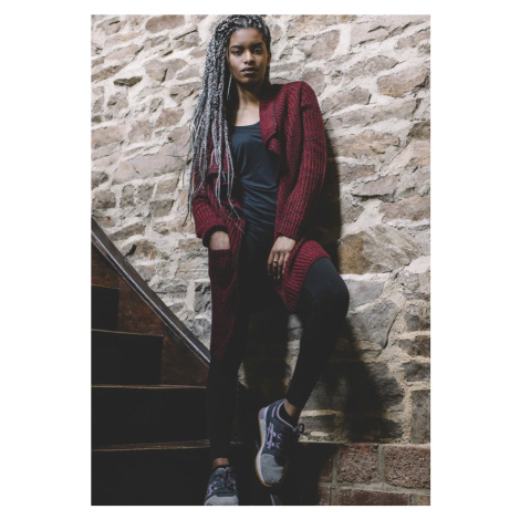 Ladies Knitted Long Cape - burgundy Urban Classics