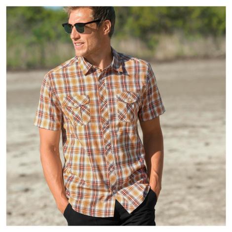Blancheporte Kostkovaná košile s krátkými rukávy medová
