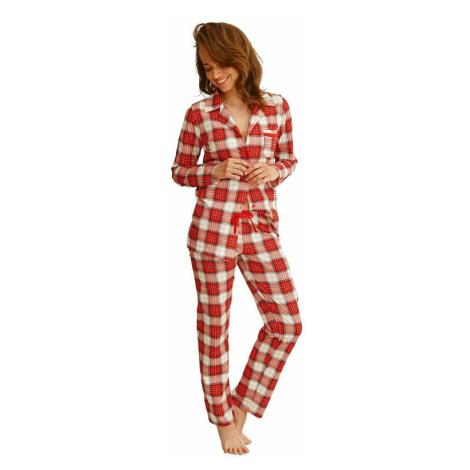 Dámské pyžamo Celine červené s káro vzorem Taro