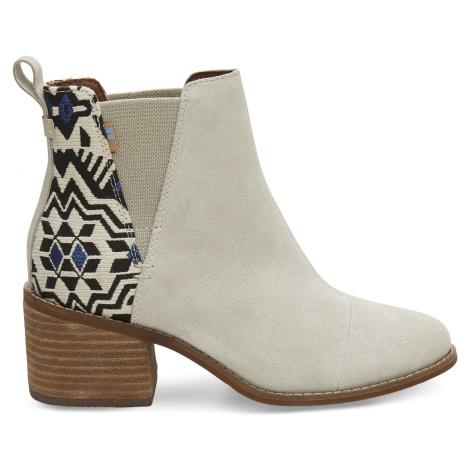 Birch Suede/Metallic Jacquard Women's Esme heel Toms