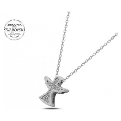 OLIVIE Stříbrný náhrdelník ANDĚL se Swarovski krystaly 2326