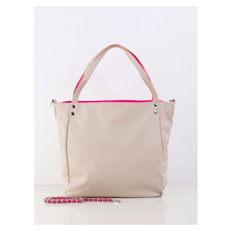 Light beige bag with a decorative belt Fashionhunters
