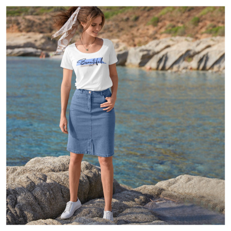 Blancheporte Džínová sukně s rozparkem vpředu, ekologicky vyrobená sepraná modrá