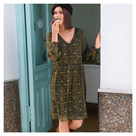 Blancheporte Voálové šaty s potiskem kostky khaki/zlatá