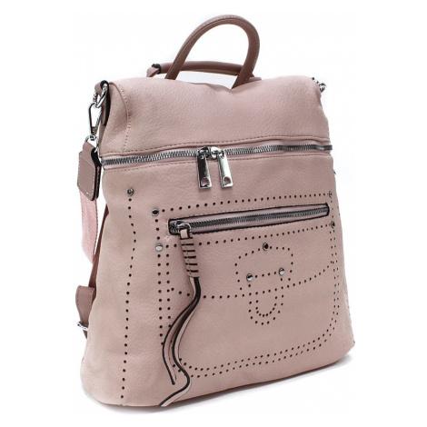 Světle růžový zipový elegantní dámský batoh Taraji Mahel
