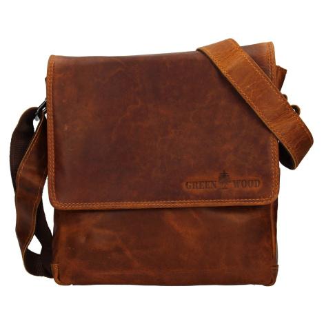 Pánská kožená taška přes rameno Greenwood Gitl - hnědá