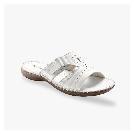 Blancheporte Pohodlné pantofle, kůže, bílé bílá