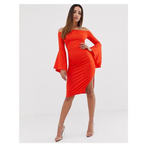 Club L London bardot ruffle sleeve midi dress-Orange