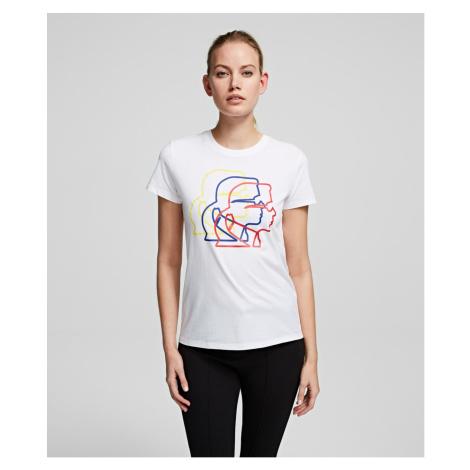 Tričko Karl Lagerfeld Multicolor 3D Karl Profile Tee - Bílá