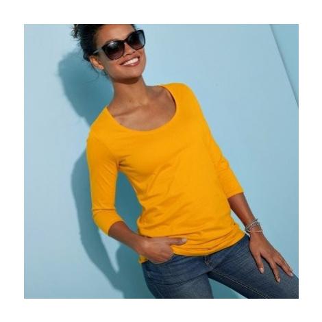 Blancheporte Jednobarevné tričko s 3/4 rukávy šafránová