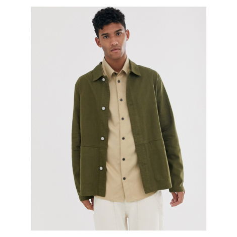ASOS DESIGN denim worker jacket in khaki-Green