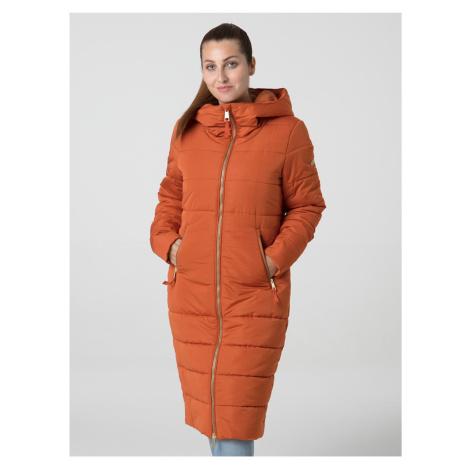 Oranžový dámský prošívaný voděodpudivý zimní kabát LOAP Takada