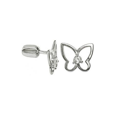 Brilio Silver Stříbrné náušnice Motýl s čirým krystalem 001 04