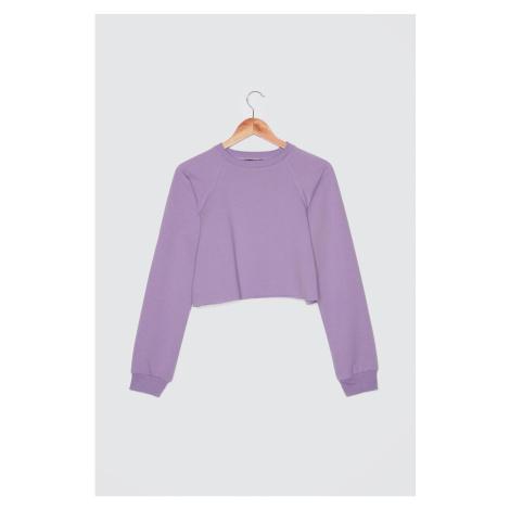 Trendyol Lila Crop Knitted Sweatshirt