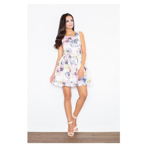 Letní květované šaty bílé bez rukávů na ramínka s áčkovou sukní