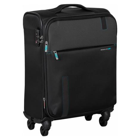 Textilní černý cestovní kufr Roncato