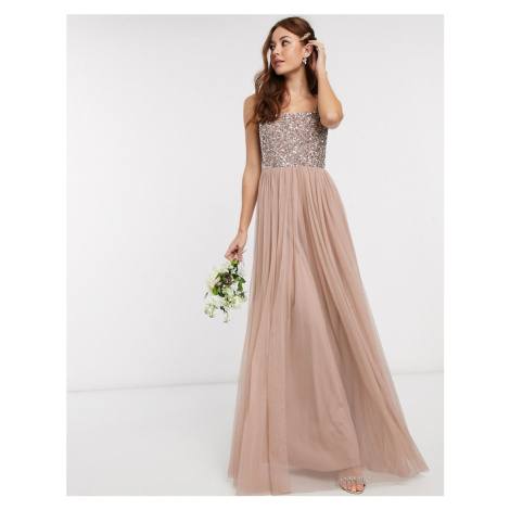 Maya Bridesmaid sleeveless square neck maxi tulle dress with tonal delicate sequin overlay in ta