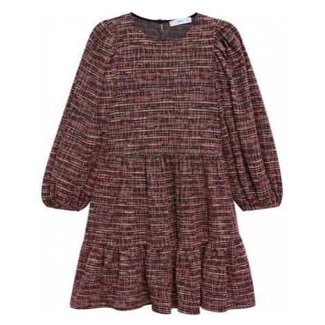 MANGO Šaty tmavě červená / bílá