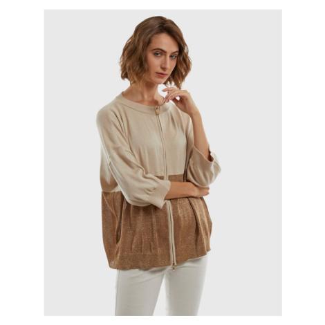 Svetr La Martina Woman Fullzip Sweater Viscose - Hnědá