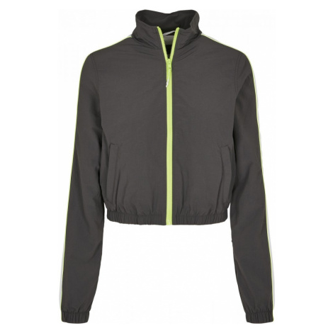 Ladies Short Piped Track Jacket - darkshadow/electriclime Urban Classics