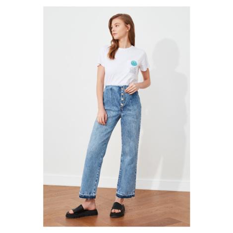 Trendyol Blue Waist Tasseled Hem Washed Detailed High Waist Wide Leg Jeans