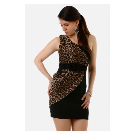 Vzorované mini šaty na jedno rameno
