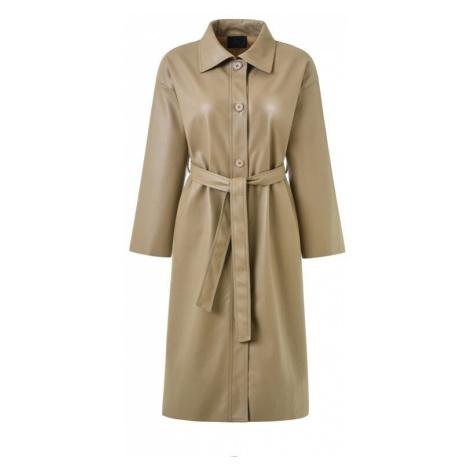 Kožený kabát s páskem a límcem dámský trenč z umělé kůže