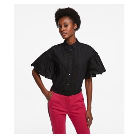 Košile Karl Lagerfeld Embroidered Poplin Shirt - Černá