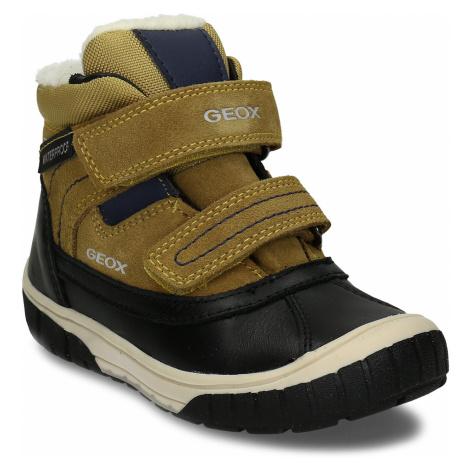 Žluto-černá kožená chlapecká zimní obuv s kožíškem Geox