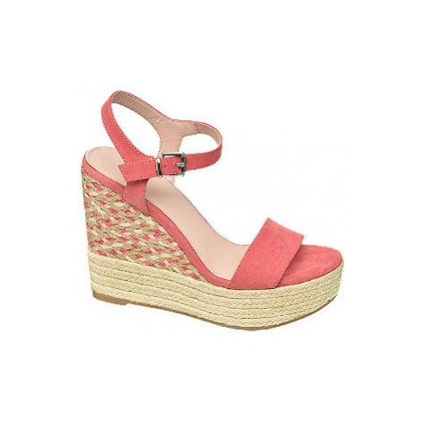 Růžové sandály na klínku Graceland