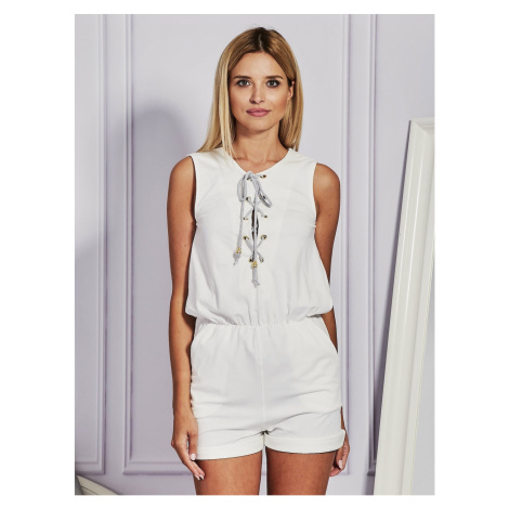Ecru jumpsuit with lacing Fashionhunters