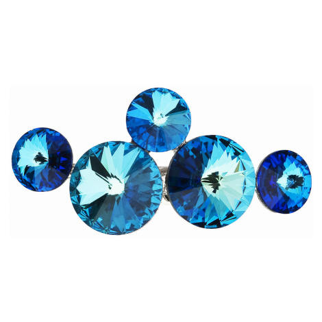 Brož bižuterie se Swarovski krystaly modrá kulatá 58001.5 Victum