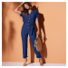 Blancheporte Jednobarevný kalhotový overal s krátkými rukávy modrá indigo
