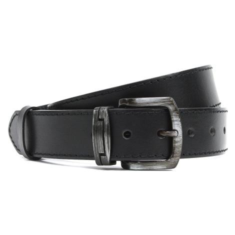 Černý prošívaný kožený pánský opasek Casimir