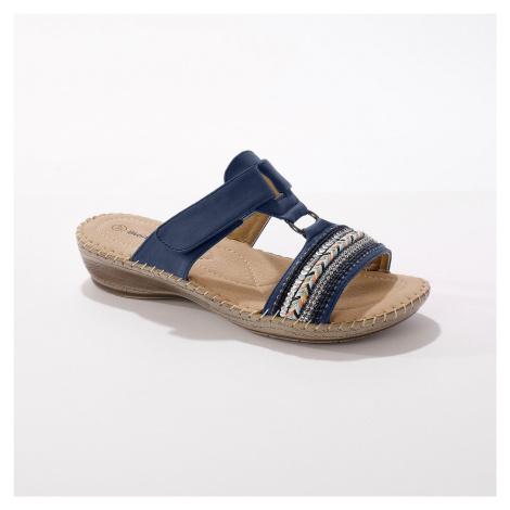 Blancheporte Pohodlné pantofle na klínku, modré modrá