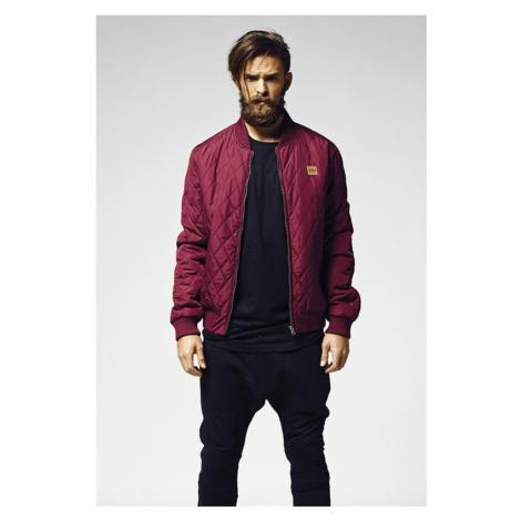 Diamond Quilt Nylon Jacket - burgundy Urban Classics