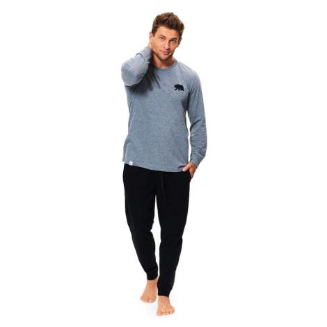 Bavlněné pánské pyžamo Bear šedé
