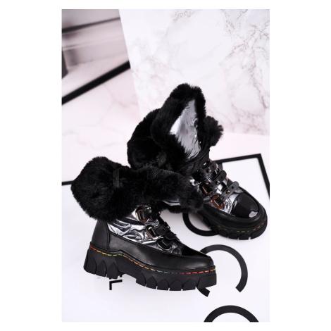Children's Snow Boot Warm Black Grey Turismo Kesi