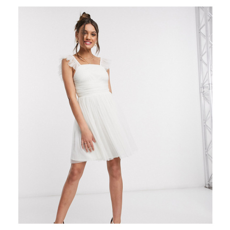 Anaya With Love Petite frill sleeve mini ruched prom dress is white