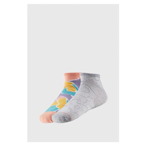 2 PACK dámských kotníkových ponožek Claretta šedožlutá Ysabel Mora