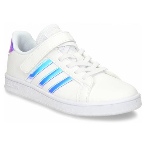 Bílé dívčí tenisky na šněrování se suchým zipem a neonovými prvky Adidas