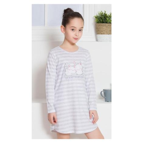 Dětská noční košile s dlouhým rukávem Koťata, světle šedá Vienetta Secret