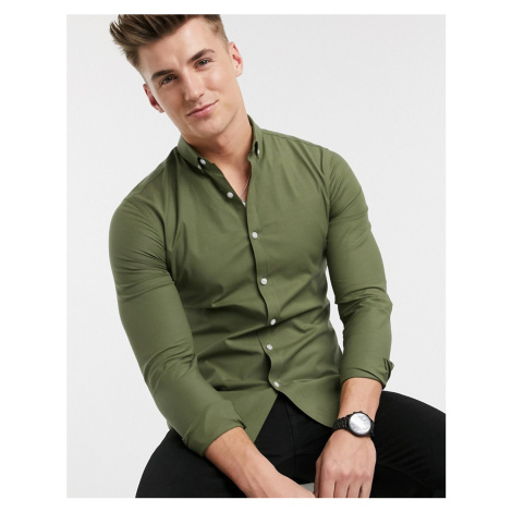 New Look long sleeve muscle fit oxford shirt in khaki-Green